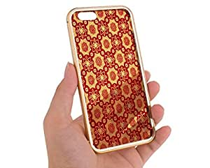 Apple Iphone 6 Gold Case Victorian Batik Red Cute Elegant Girly Design Aluminum Bumper 4.7
