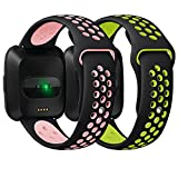 Antemart Compatible Fitbit Versa Bands, Replacement Silicone Sport Band Bracelet Strap with Ventilation Holes Compatible with 2018 Fitbit Versa Smart Watch,Design for Women Men Boys Girls