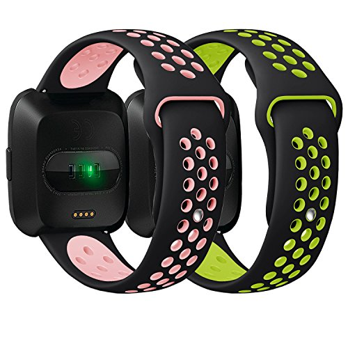 Antemart Compatible Fitbit Versa Bands, Replacement Silicone Sport Band Bracelet Strap with Ventilation Holes Compatible with 2018 Fitbit Versa Smart Watch,Design for Women Men Boys Girls by Antemart