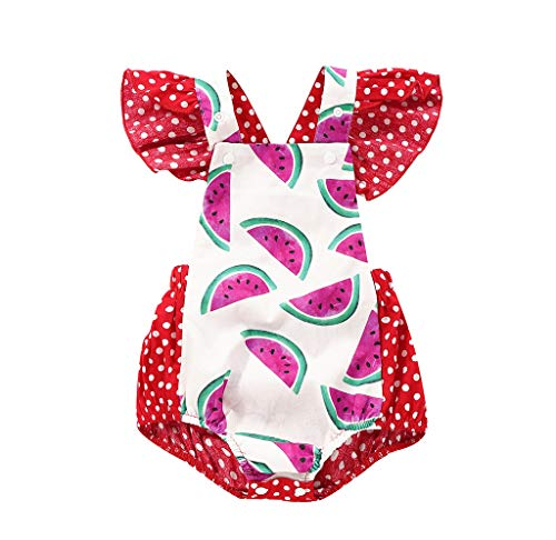 WOCACHI Toddler Baby Girls Clothes, Summer Infant Baby Boys&Girls Watermelon Print Backless Romper Bodysuit Clothes Back to School Easter Egg Costume Parade Bunny Lily Eggs Roll Basket Mother's Day ()