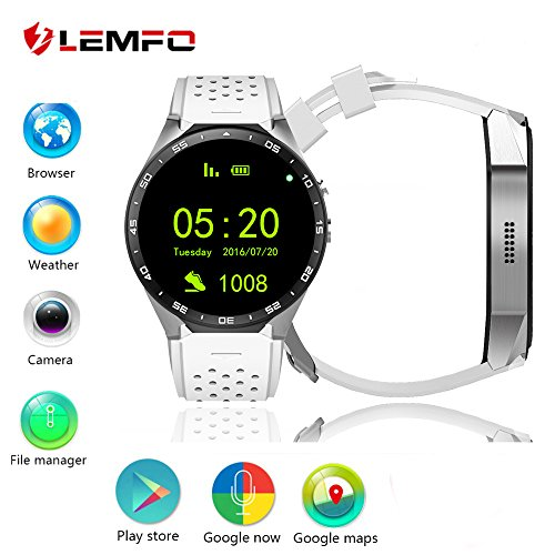 Kingwear 1.39 inch Smart Watch with 3G Quad Core support 2.0MP Camera Bluetooth SIM Card WiFi GPS Heart Rate Monitor for Android 5.1, Gray & White