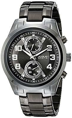 August Steiner Men's AS8173BK Black Multifunction Quartz Watch with Black Dial and Black Bracelet