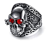 PJ Mens Stainless Steel Steampunk Heavy Metal Skull Head Rings for Bikers and Rockers