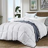 JURLYNE King White Comforter Quilted Reversible Duvet Insert, Hypoallergenic Breathable for All Season, Fluffy Light-Weighted Down Alternative Comforter