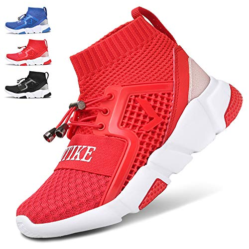 WETIKE Kids Shoes Boys Girls Sneakers High Tops Lightweight Gym Sports Shoes Slip On Sock Shoes Running Walking School Casual Shoes Soft Knit Youth Shoes Red Size 6 - High Top Sneaker Socks