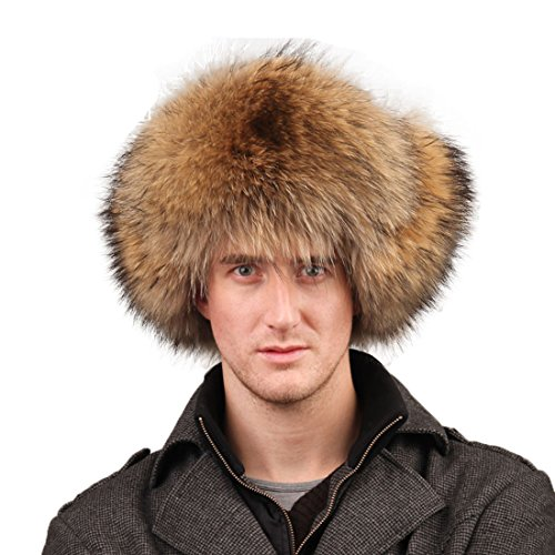 URSFUR Men's Raccoon Fur & Leather Trapper Hats (Raccoon Natural Color) by URSFUR