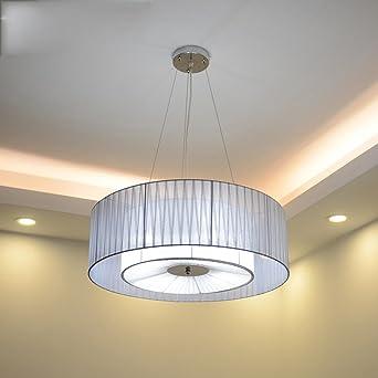 Moderno ronda colgante doble cable textil lámpara de hierro ...
