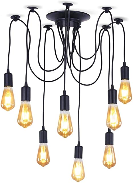 Xiudi 8 Arms Industrial Ceiling Spider Lamp Metal Pendant Lights Fixture Home Diy E26 Edison Bulb Chandelier Lighting For Coffee Shop Dining Living Room Kitchen Each With 78 74 2m Wire Amazon Com