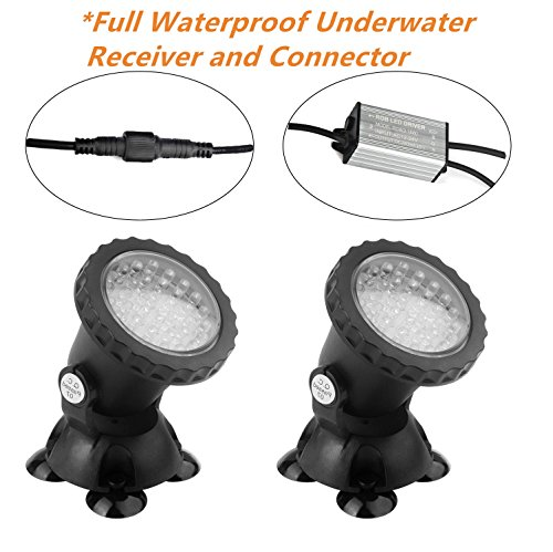 Pond Lights NEW UPGRADED Remote Control Submersible Lamp IP68 Totally Full Waterproof Underwater Aquarium Spotlight 36-LED Multi-color Decoration Landscape Lamp for Swimming Pool Fish (Set of 2) by COVO ART