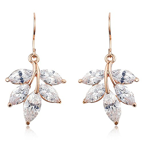 Gold Chandelier Dangle Earrings for Women - Leaf Rose Gold - Mall of Style (Luxurious Leaf)