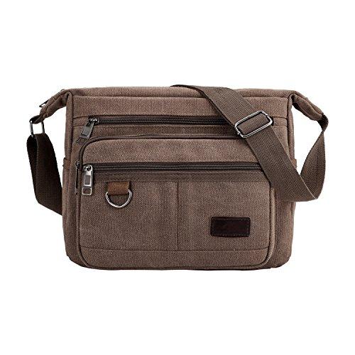 W&G Traveler Light Weight Canvas Shoulder Bag for Men Women Messenger Handbags Crossbody Multi Zipper Pockets Bag (Brown)