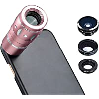 Apexel Optical Phone Camera Lens Kit Pink 10x Zoom Telescope Camera Lens and Fisheye/wide Angle/Macro Lens with Hard Back Case for iPhone 7