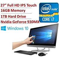 Newest HP Pavilion Busniness 27 Full HD IPS Touchscreen All-in-One Desktop - Intel Quad-Core i7-6700T 2.8GHz, 16GB RAM, 1TB HDD, DVDRW, NVidia GT930MX, WLAN, Webcam, Bluetooth, HDMI, USB 3.0, Win 10