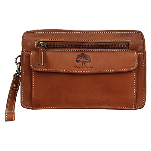 Rustic Town Leather Hand Pouch Men Purse Wallet Clutch Wrist Bag Gift (Mens Leather Handbags)
