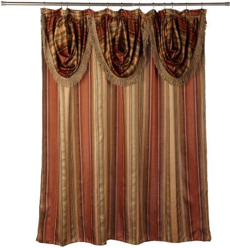 "Popular Bath Contempo Spice Fabric Shower Curtain with Attached Valance, 72""  x  72"""
