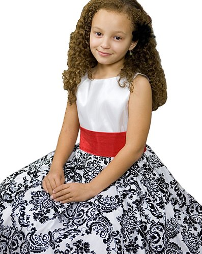 - White with Black Velvet Special Occasion Dress w/ Removable Red Sash Girl 12