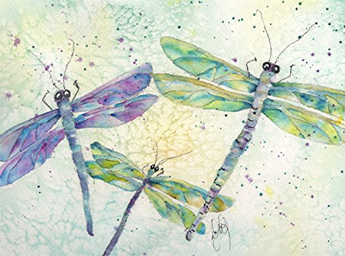 Dragonfly in Flight Blank Note Card Assortment: 6 Artistic All Occasion Watercolor Blank Notecards, with Envelopes - - Blue Note Dragonfly
