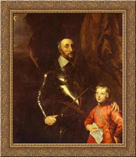 (Thomas Howard, 2nd Earl of Arundel and Surrey with His Grandson Lord Maltravers 24x20 Gold Ornate Wood Framed Canvas Art by Anthony van Dyck)