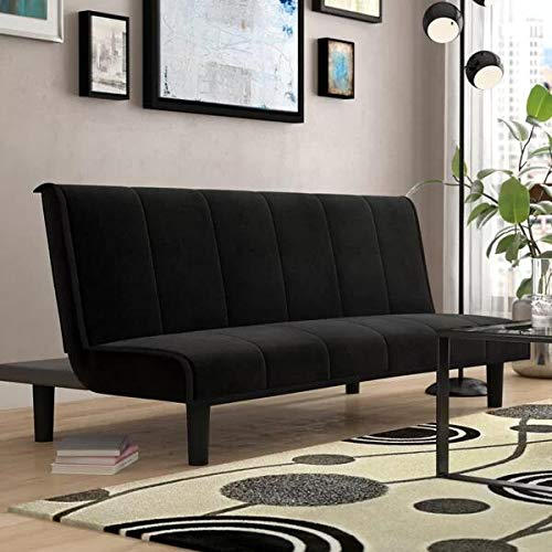 SEAPHY Convertible Futon Sofa Bed Reclining Futon Couch Adjustable Love Seats Couch for Living Room, Black, 29.5'' H x 68.5'' W x 32'' D by SEAPHY