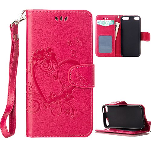 iPod Touch 5 Case , iPod Touch 6 Case, Alkax PU Leather Wallet Kickstand Magnet Flip Folio STAND Protective Cover with Card ID Card Slots Wrist Strap for Apple iPod Touch 5 6th Generation (Hot Pink)