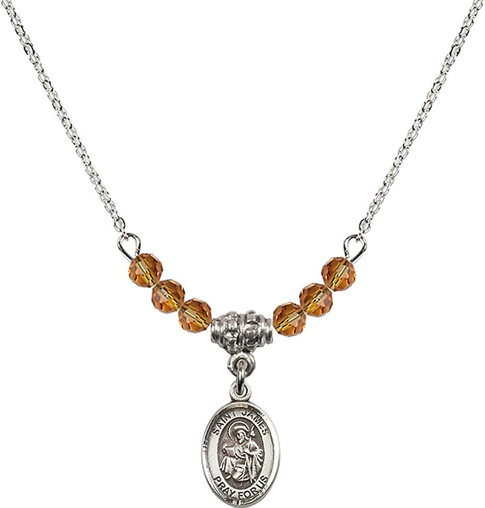 18-Inch Rhodium Plated Necklace with 4mm Topaz Birthstone Beads and Sterling Silver Saint James the Greater Charm.