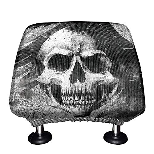 WIRESTER Car Seat Head Rest Cover, Protective Fabric Design Cover Decoration for All Cars - Gray Skull Raven (Skull Head Car)
