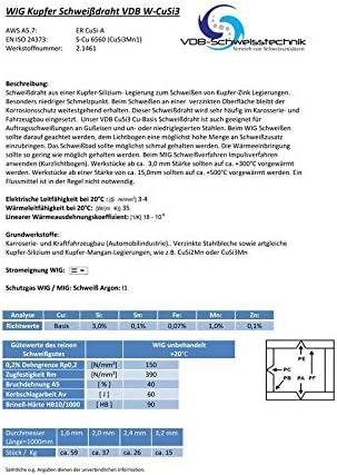 2.1461-0,25 Kg Schwei/ßdraht WIG Kupfer VDB W-CuSi-3-2,0 x 1000 mm