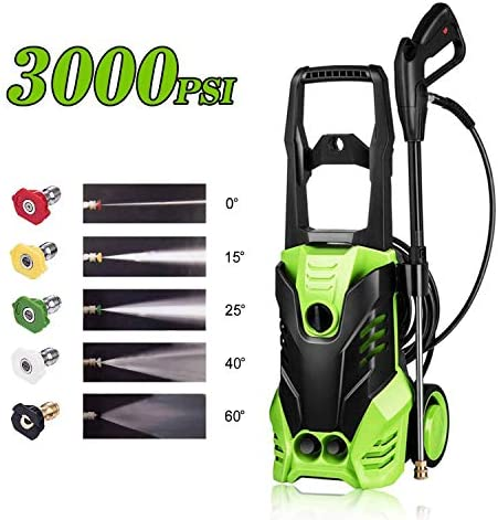 Homdox High Pressure Power Washer 3000 PSI Electric Pressure Washer,1800W Rolling Wheels High Pressure Professional Washer Cleaner Machine 5 Nozzle Adapter