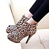 FAPIZI Women's Platform Shoes Fashion Leopard Print Peep Toe Stiletto Heels Cut Out Ankle Boots Sandals Single Shoes Red