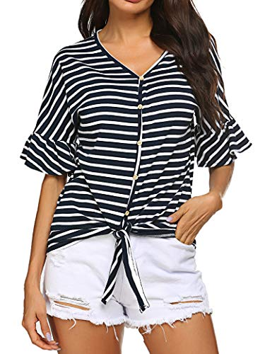 (Naggoo Women's Knot Front Ruffle Batwing Sleeve Striped Casual Loose Pullover Top Tee T-Shirt Navy Blue)