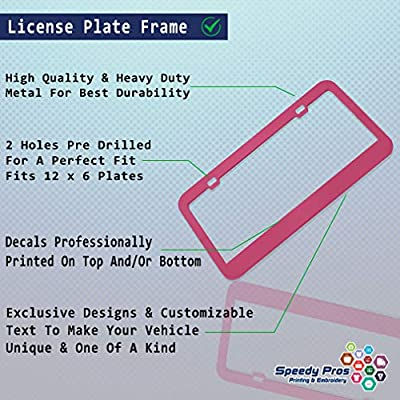 Speedy Pros Metal License Plate Frame Think Pink Breast Cancer Ribbons Car Accessories Hot Pink 2 Holes: Sports & Outdoors
