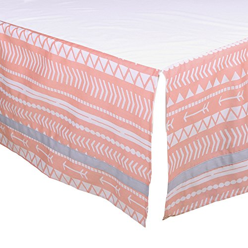 Coral Pink Tribal Tailored Crib Dust Ruffle by The Peanut Shell