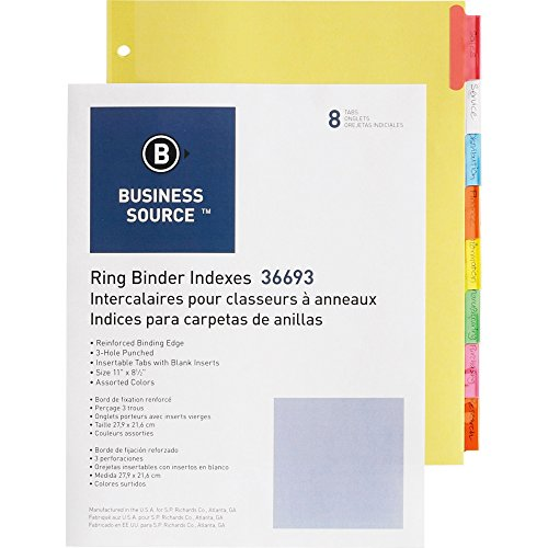 Business Source Ring Binder Index Dividers - Set of 8 Multicolored Tabs (36693)