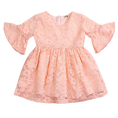Baby Girls Lace Dress Little Princess Flower Lace Summer Party Wedding Ruffled Sleeve Dresses One-Piece Clothes (Peach, 4-5 Years)]()