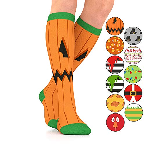 Go2Socks GO2 Holiday Compression Socks for Women Men Nurses Runners 15-20 mmHg (Medium)-Medical Stocking Maternity Travel-Best Performance Recovery Circulation Stamina(Jack-O-,M)]()