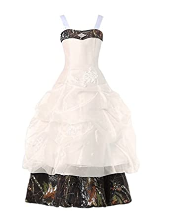 3d1db37b4e3 Amazon.com  Women s 2018 Straps Camo Flower Girl Dresses Long Camouflage  Pageant Gowns  Clothing
