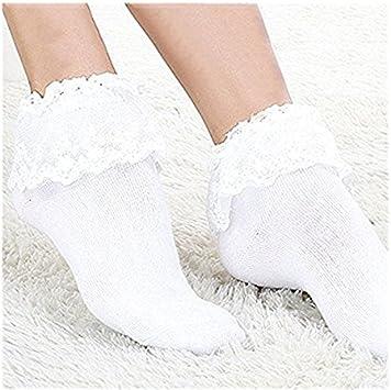 Kingken 1 par de Calcetines de algodón con Volantes para Mujer, Blanco, Tamaño Libre: Amazon.es: Deportes y aire libre