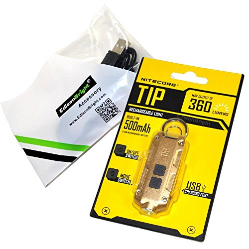 Nitecore TIP keychain flashlight; 360 lumen USB rechargeable; gold color body with EdisonBright brand USB charging cable
