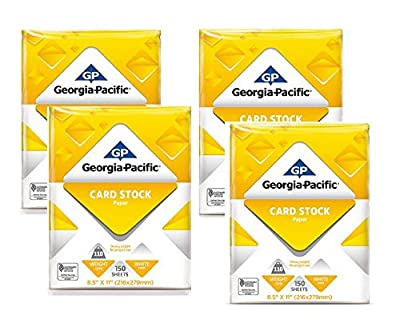 """Generic Georgia-Pacific 150 Sheets 8.5"""" x 11"""", White Cardstock Paper, 110 lb (4 Pack)"""