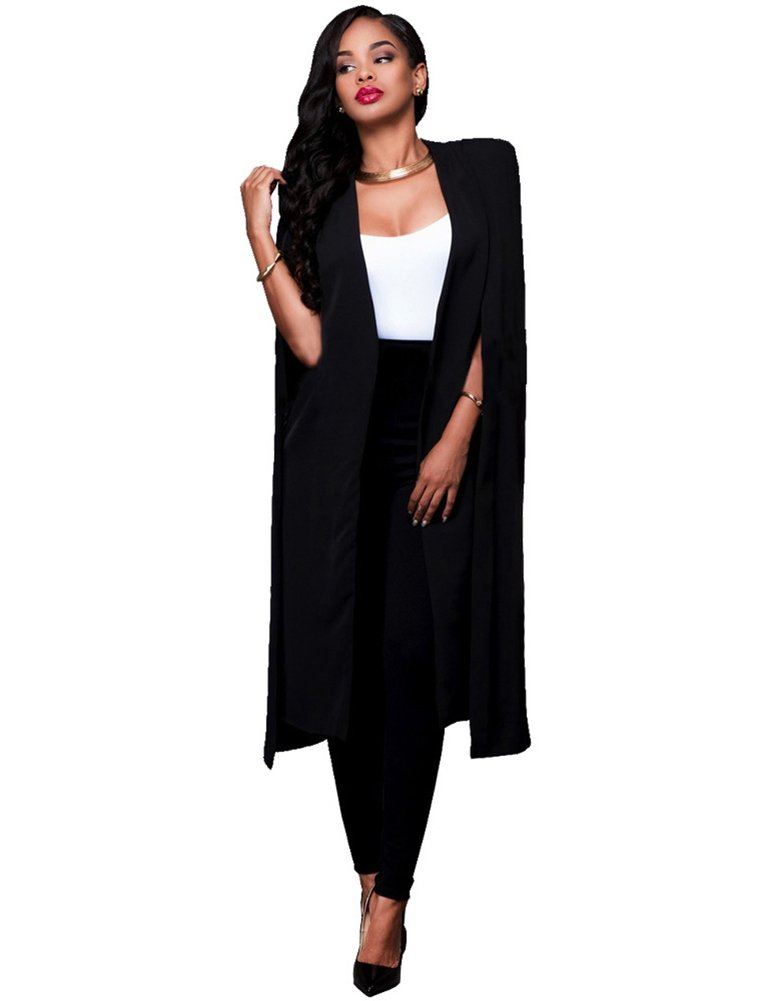 Irirgo Women's Split Long Sleeve Poncho Cape Cloak Shawl Cardigan Jacket Top (us2XL=tag3XL, Black)