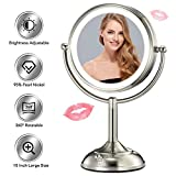 VESAUR Professional 10' Large Size Lighted Makeup Mirror, 5X Magnifying Vanity Mirror with 48 Medical LED Lights, Senior Pearl Nickel Cosmetic Mirror,Brightness Adjustable (0-1000Lux)
