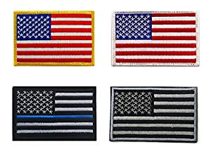 US Bundle 4 Pieces - Four Tactical USA Flag Patches United States Patch: Yellow/White/Black/Gray