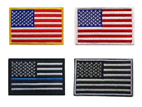 Bundle 4 Pieces - Tactical Gear USA Flag Patch American Embroidered US United States of America Military Uniform Emblem Velcro Morale - Velcro Us Flag Patch