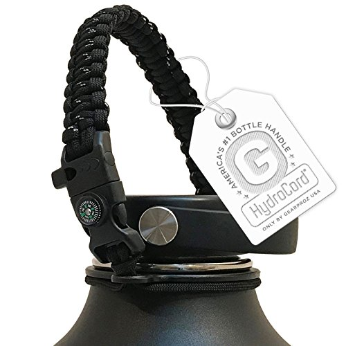 (Gearproz Handle for Hydro Flask, Nalgene, Takeya - America's No. 1 Paracord Water Bottle Carrier with Safety Ring - Fits Wide Mouth 12 oz to 64 oz Flasks (Black w/Compass))
