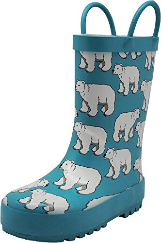 Bears Boots Rain (NORTY Girls Polar Bears Print Waterproof Rainboot, Light Blue 40146-4MUSBigKid)