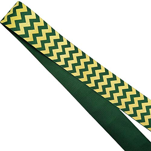 1.5 '' Width Glitter Chevron Background Printed Grosgrain Ribbon Handmade Cheer Large Hair Bow,Party Deco Wedding 5 Yards & 25 Yards (Yellow/Forest Green, 25 Yards)]()
