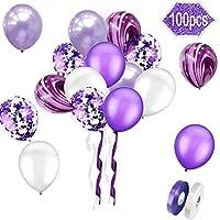 Greengoal 12 inch Confetti Balloons Purple, White and Purple Latex Balloons with Purple Confetti Dots, 1 White Rolls Ribbons & 1 Purple Rolls Ribbons (100pcs)