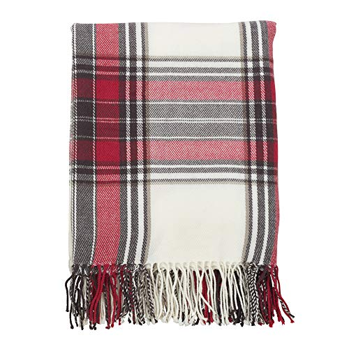 (Fennco Styles Classic Plaid Pattern Tassel Trim Throw Blanket, 50