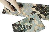 "simple kitchen designs 2 Piece Non-Slip Kitchen Mat | Simple Nordic Design Oil Proof Doormat Runner Rug Set, Anti-Fatigue Comfort Standing Mat Kitchen Rug (Retro Grid 18""x30""+18""x59"")"