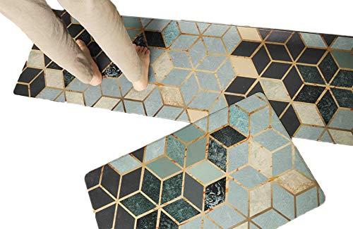 "2 Piece Non-Slip Kitchen Mat | Simple Nordic Design Oil Proof Doormat Runner Rug Set, Anti-Fatigue Comfort Standing Mat Kitchen Rug (Retro Grid 18""x30""+18""x59"")"